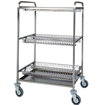 Dish and glass drainer trolley with 2 shelves, 1 for glasses - Forcar
