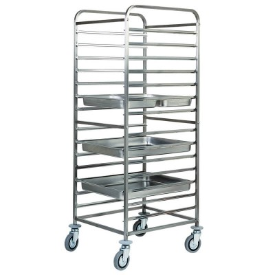 Stainless steel tray trolley for 14 GN 2/1 Gastronorm. CA1476 - Forcar