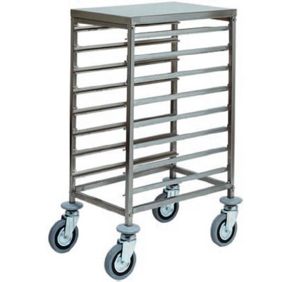 Stainless steel tray trolley for 8 GN 1/1 Gastronorm. CA1478 - Forcar