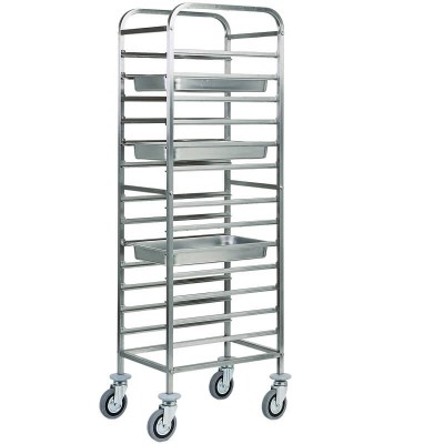 Stainless steel tray trolley for 14 GN 1/1 Gastronorm. CA1479 - Forcar
