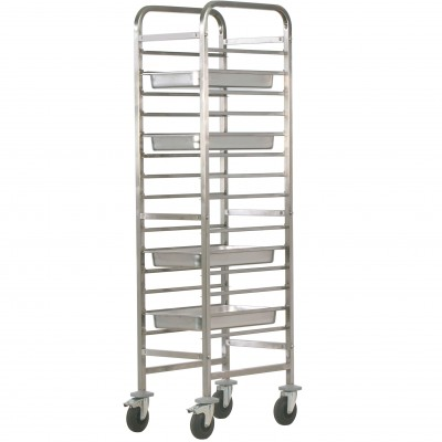 Stainless steel tray trolley for 14 GN 1/1 Gastronorm. CA1489R - Forcar