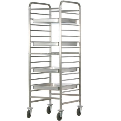Stainless steel tray trolley for 14 GN 2/1 Gastronorm. CA1486R - Forcar
