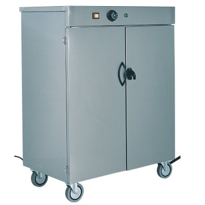 Stainless steel trolley-mounted plate warmer cabinet up to 60 plates - Forcar