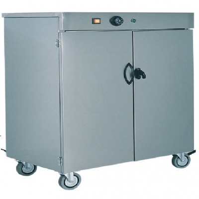 Stainless steel trolley-mounted plate warmer cabinet up to 100 plates - Forcar