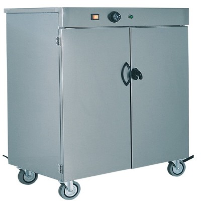 Stainless steel trolley-mounted plate warmer cabinet up to 120 plates - Forcar