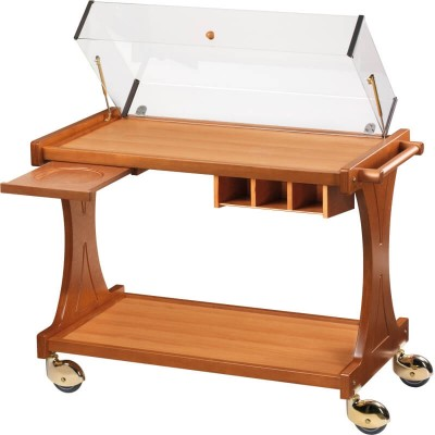 Wooden trolley with rectangular dome for appetizers, desserts and cheese - Forcar