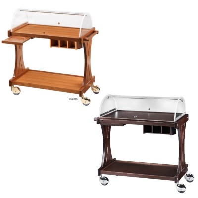 Wooden trolley with semicircular plexiglass dome for desserts and appetizers - Forcar