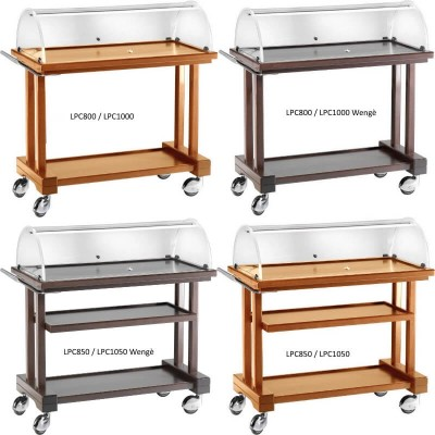 Service trolley in multilayer wood with plexiglass dome - Forcar