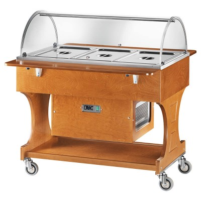 Positive refrigerated wooden display trolley with plexiglass dome - Forcar