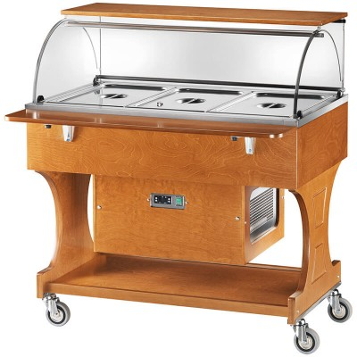 Positive refrigerated, static display trolley with 2 shelves and plexiglass dome - Forcar
