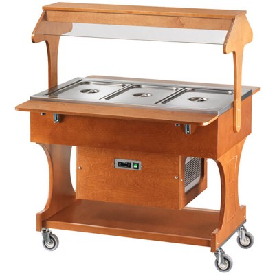 Positive refrigerated wooden display trolley with luminous dome - Forcar