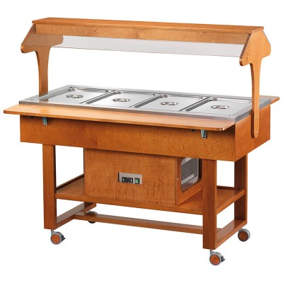 Negative refrigerated wooden display trolley with luminous dome - Forcar