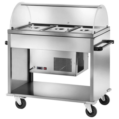 Stainless steel refrigerated display trolley with plexiglass dome. CAR2780 - Forcar