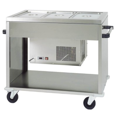 Negative refrigerated stainless steel display trolley with plexiglass dome. CAR2780BT - Forcar