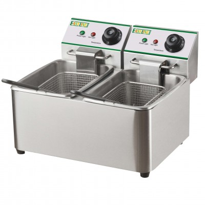 Double Fryer 2 x 8 liters of oil and power 2x2.85Kw. Mod FY8L2 - Easy line By Fimar