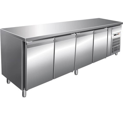 Refrigerated stainless steel table -19°/-22°C, 4 doors, AISI 201 stainless steel. GN4100BT-FC - Forcar