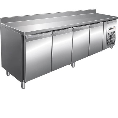 Refrigerated stainless steel table -19°/-22°C, with splashback, 4 doors, AISI 201 stainless steel. GN4200BT-FC - Forcar
