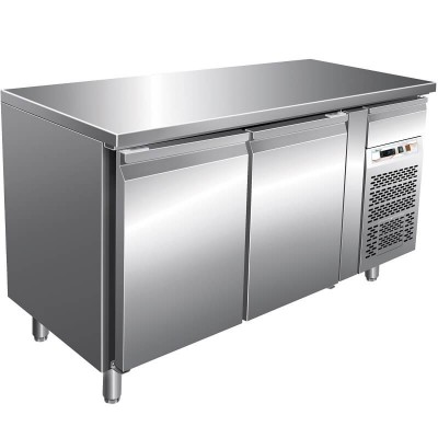 Refrigerated stainless steel -2°/ 8°C snack table with 2 doors, AISI 201 stainless steel. FORGSnack2100TN-FC - Forcar
