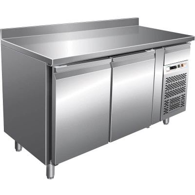 Refrigerated stainless steel -2°/ 8°C snack table with splashback, 2 doors, AISI 201 stainless steel. FORGSnack2200TN-FC -