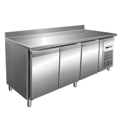 Refrigerated pastry counter temp. 2/ 8 °C, with splashback, AISI 201 stainless steel. GPA3200TN-FC - Forcar