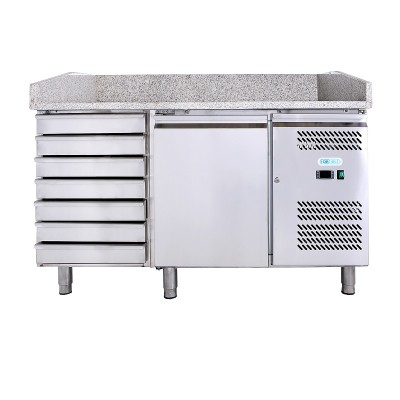 Refrigerated table and pizza counter, ventilated single door and drawer unit in AISI201 steel. GPZ1610TN-FC -