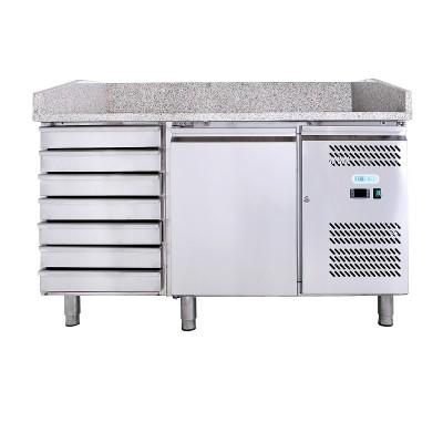 Tavolo refrigerato e banco pizza, ventilato ad un' anta e cassettiera in acciaio AISI201. GPZ1610TN-FC - Forcold