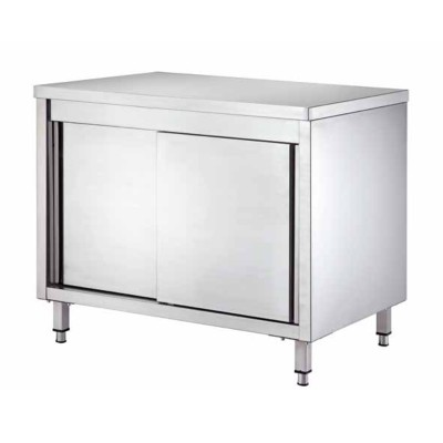 Stainless steel cupboard table, with sliding doors and depth 60 cm - Forcar