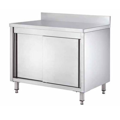 Stainless steel cupboard table, with sliding doors and splashback, depth 60 cm - Forcar
