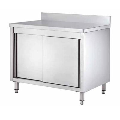 Tavolo armadiato Inox, con porte scorrevoli e alzatina, profondità 60 cm - Forcar