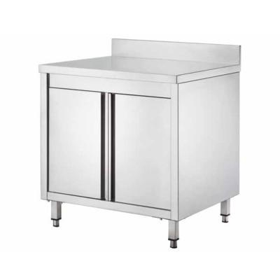 Tavolo armadiato Inox, con porte battenti e alzatina, profondità 60 cm - Forcar