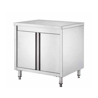 Stainless steel cupboard table, with hinged doors, depth 60 cm - Forcar