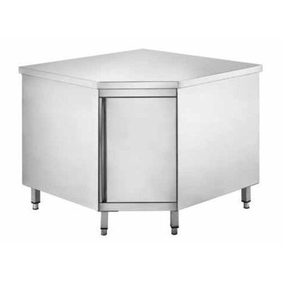 Corner cabinet table in stainless steel 90x60 cm - Forcar