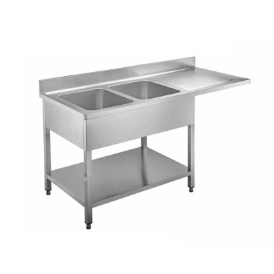 Cantilevered stainless steel sink with two bowls - Forcar