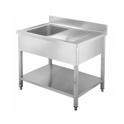 Open stainless steel sink with one basin, depth 60 cm - Forcar