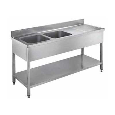 Lavello aperti in acciaio inox con due vasche, profondità 60 cm - Forcar