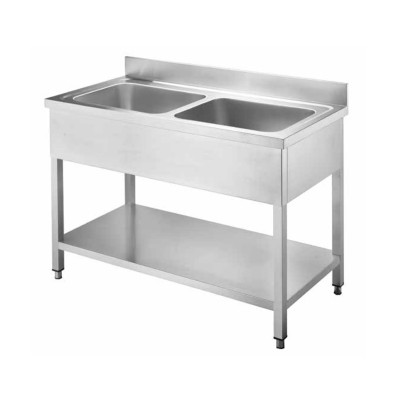 Open stainless steel sink with two bowls, without drainer - Forcar