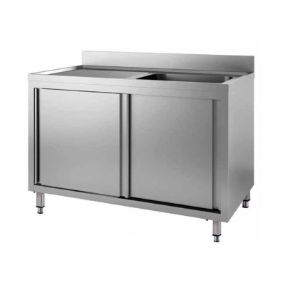 Stainless steel cupboard sink with one basin and sliding doors - Forcar