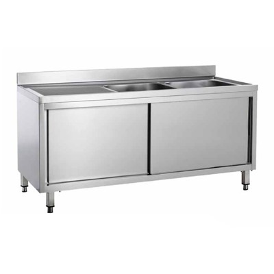 Stainless steel cupboard sink with two basins and sliding doors - Forcar