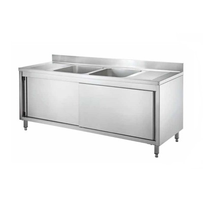 Stainless steel cupboard sink with two central tanks and sliding doors, length 200 cm - Forcar