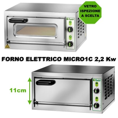 MICRO 1C Electric pizza oven with chamber height 11 cm. 2,2 kW Choice of Czech door.