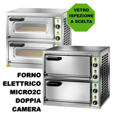 2 chambers stainless steel pizza oven with refractory top and 4 thermostats. Micro - Fimar series