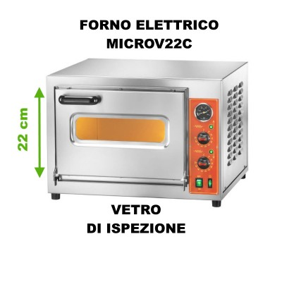 MICROV22C Electric pizza oven with chamber height 22 cm, stainless steel frame. - Fimar
