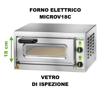 MICROV18C Electric pizza oven chamber height 18 cm, stainless steel frame. - Fimar