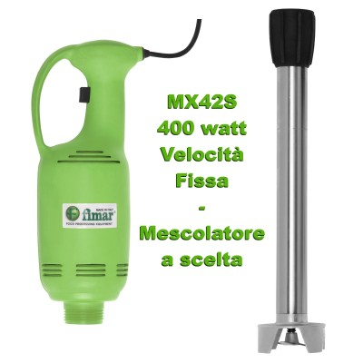 Professional fixed speed immersion mixer with vertical handle. 400 Watts, Green. Series MX42S - Fimar