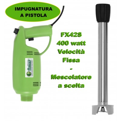 Professional fixed speed immersion mixer with pistol grip. 400 Watts, Green. FX42S Series - Fimar