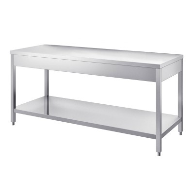 Neutral stainless steel table, depth 70 cm, without splashback - Forcar