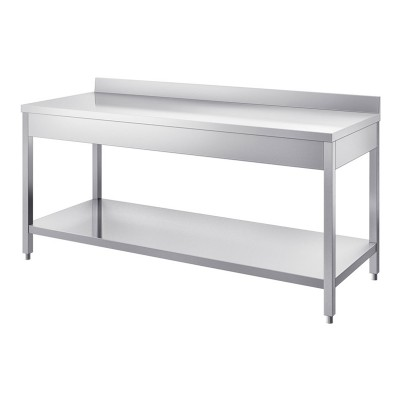 Neutral stainless steel table, depth 60 cm, with splashback - Forcar