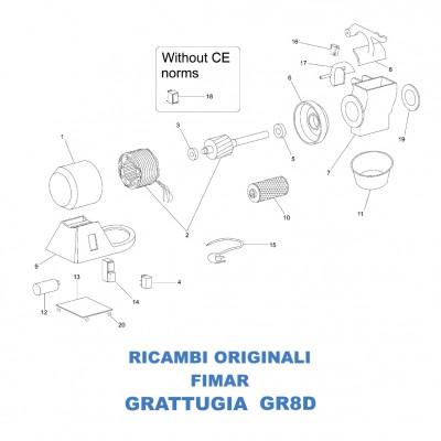 Exploded for Fimar GR8D grater spare parts - Fimar