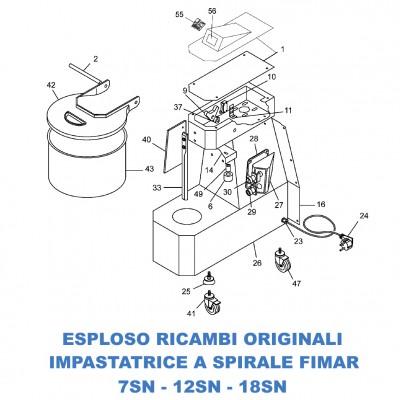 Esploso ricambi per Impastatrici a spirale Fimar 7SN - 12SN - 18SN - Fimar