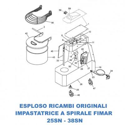 Esploso ricambi per Impastatrici a spirale Fimar 25SN - 38SN - Fimar